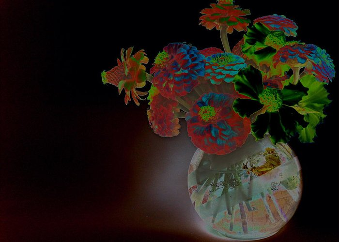 Flower Arrangement Greeting Card featuring the photograph Rainbow Flowers In Glass Globe by Padre Art