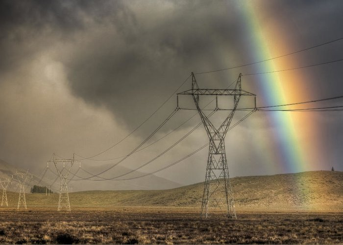 00441044 Greeting Card featuring the photograph Rainbow Over Powerlines by Colin Monteath