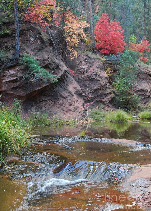 Sedona Greeting Card featuring the photograph Rainbow Of The Season And River Over Rocks by Heather Kirk