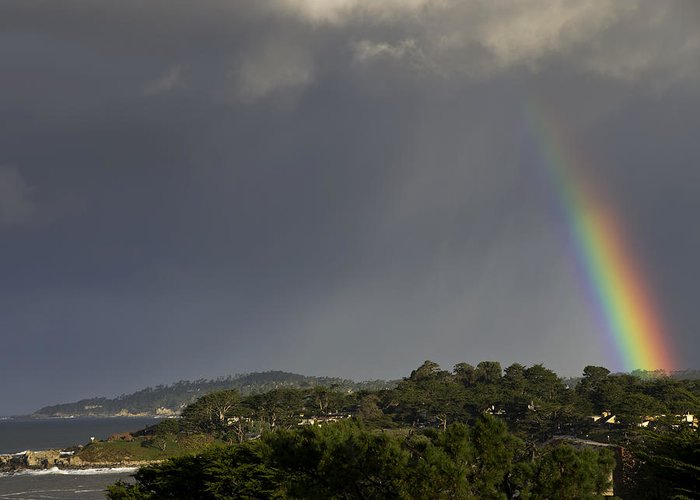 Rainbow Greeting Card featuring the photograph Rainbow Over Carmel by Mike Herdering