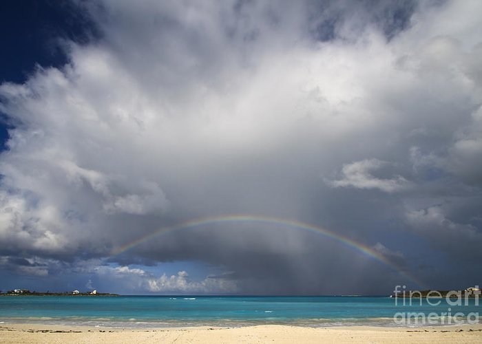 Exuma Greeting Card featuring the photograph Rainbow Over Emerald Bay by Dennis Hedberg
