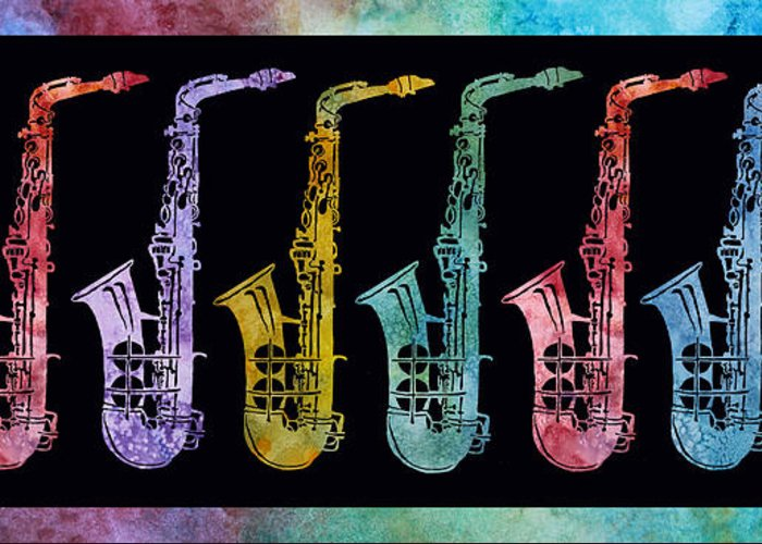 Sax Greeting Card featuring the digital art Rainbow Saxophones by Jenny Armitage
