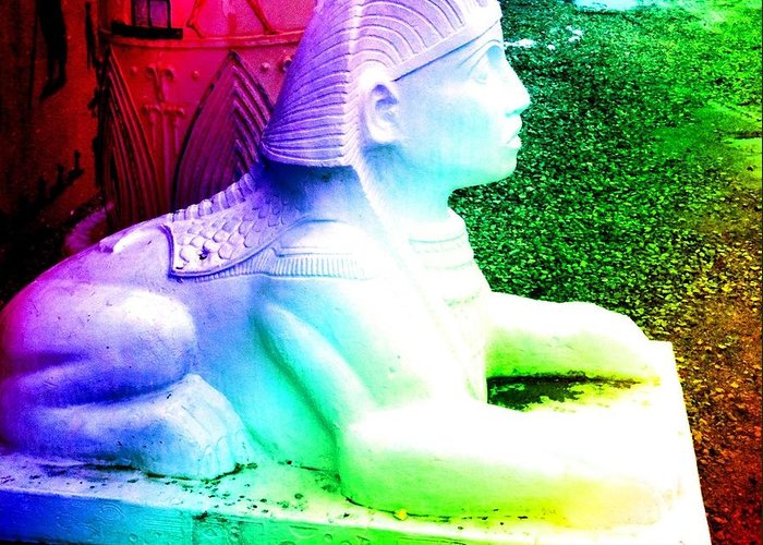 Roadside Attractions Greeting Card featuring the photograph Rainbow Sphinx by Darcy Dekker
