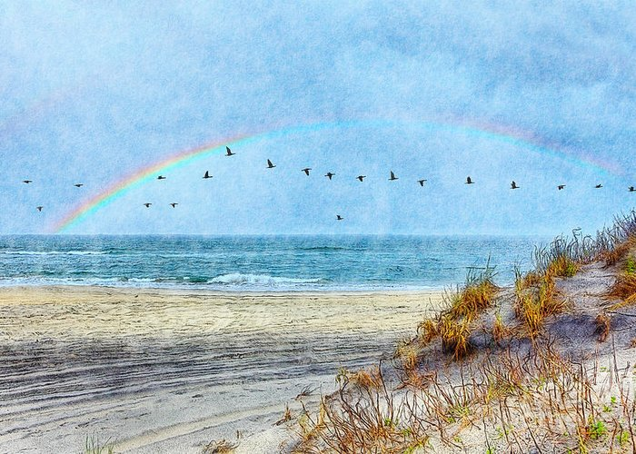 North Carolina Greeting Card featuring the painting Rainbows And Wings II by Dan Carmichael