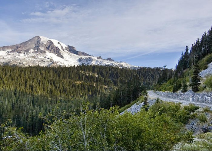 Mountain Greeting Card featuring the photograph Rainier Journey by Mike Reid
