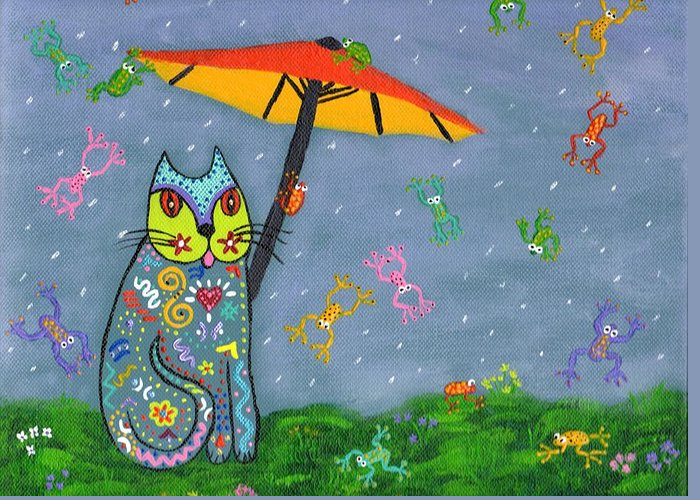 Cat Greeting Card featuring the painting Raining Frogs On Kittyboy by Marilyn Ferguson