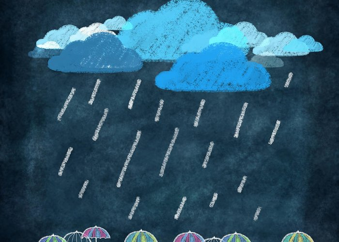 Art Greeting Card featuring the photograph Rainy Day With Umbrella by Setsiri Silapasuwanchai