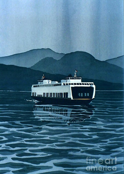 Washington Greeting Card featuring the painting Rainy Ferry by Scott Nelson