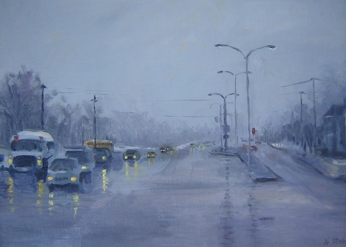 Urban Greeting Card featuring the painting Rainy Monday by Holly Stone