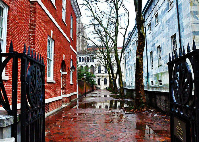 Rainy Philadelphia Alley Greeting Card featuring the photograph Rainy Philadelphia Alley by Bill Cannon