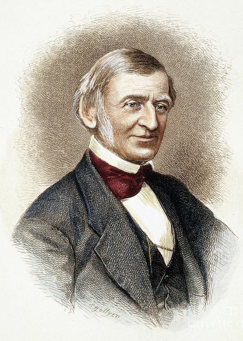 19th Century Greeting Card featuring the drawing Ralph Waldo Emerson  by Granger