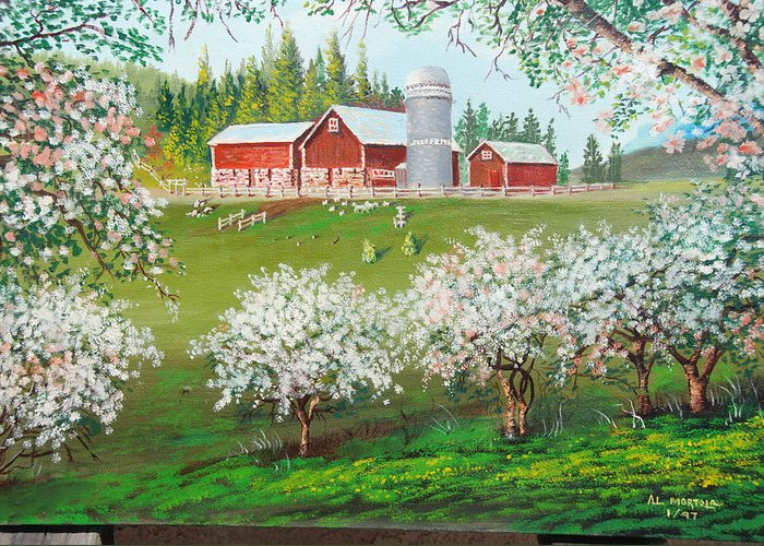 Landscape Greeting Card featuring the painting Ranch Home by Al Mortola