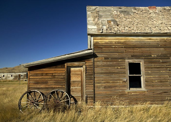 Day Greeting Card featuring the photograph Ranchers House In Prairie Semi-ghost by Pete Ryan