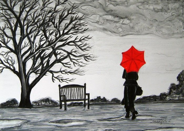 Romance Greeting Card featuring the painting Randezvous in the Rain by Manjiri Kanvinde