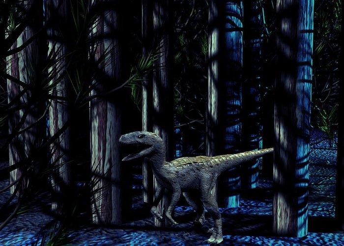 Raptor Greeting Card featuring the photograph Raptor Dinosaur by Christian Darkin
