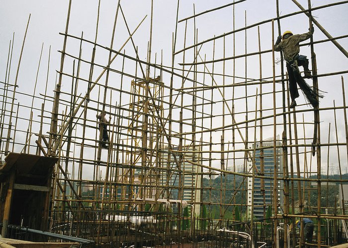 Asia Greeting Card featuring the photograph Rare Bamboo Scaffolding Used In Hong by Justin Guariglia
