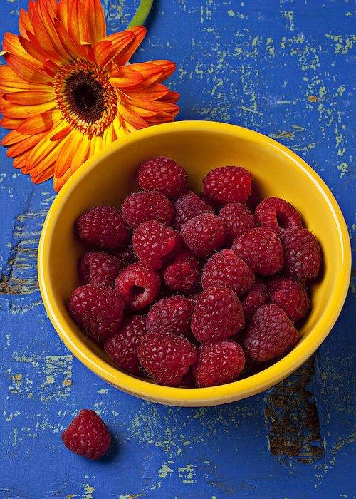 Raspberries Yellow Bowl Greeting Card featuring the photograph Raspberries In Yellow Bowl by Garry Gay