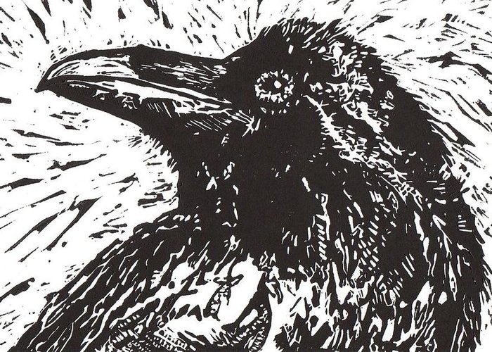 Linocut Greeting Card featuring the mixed media Raven by Julia Forsyth