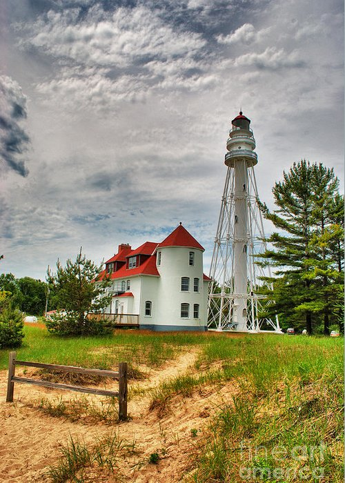 Rawley Point Greeting Card featuring the photograph Rawley Point Lighthouse by Ever-Curious Photography