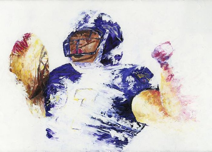 Oil Painting Art Artwork Acrylic Impressionist Impressionism Palette Knife Texture Giclee Print Reproduction Colorful Bright Athlete Athletic Sports Figures Human Ray Lewis Baltimore Ravens Football Afc National Football League Nfl Play Of The Day Highlight Running Back Leader M&t Bank Stadium Team Rutgers College Spiritual Community Service Religious Foundation Rusher Color Colour Colourful Greeting Card featuring the painting Ray Rice by Ash Hussein