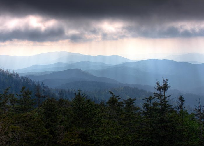 Great Smokey Mountains Greeting Card featuring the photograph Rays Of Light Over The Great Smoky Mountains by Pixel Perfect by Michael Moore