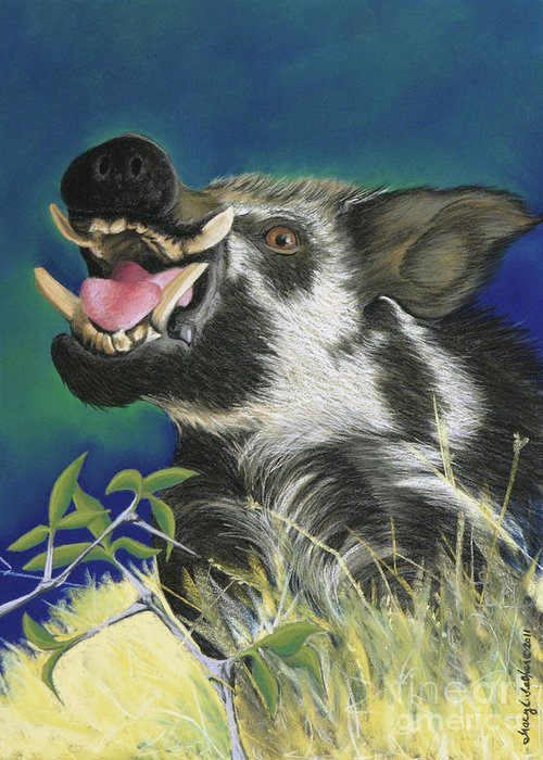 Arkansas Greeting Card featuring the pastel Razorback by Tracy L Teeter