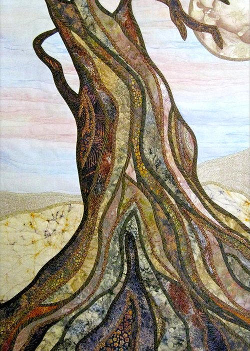 Landscape Greeting Card featuring the tapestry - textile Reaching by Doria Goocher