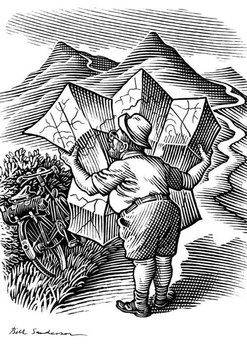 Human Greeting Card featuring the photograph Reading A Map, Artwork by Bill Sanderson