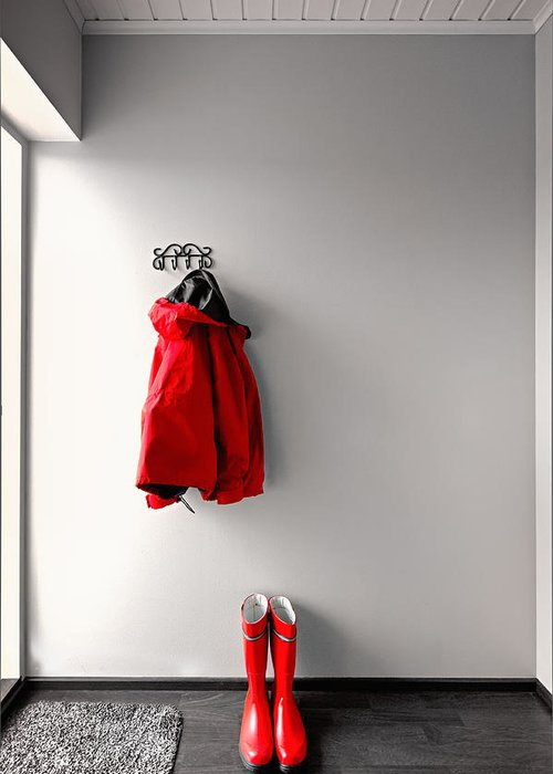 Raincoat Greeting Card featuring the photograph Ready For Rain by Ari Salmela
