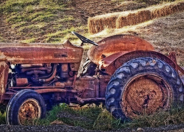 Tractor Greeting Card featuring the photograph Ready For Retirement by Kathy Jennings
