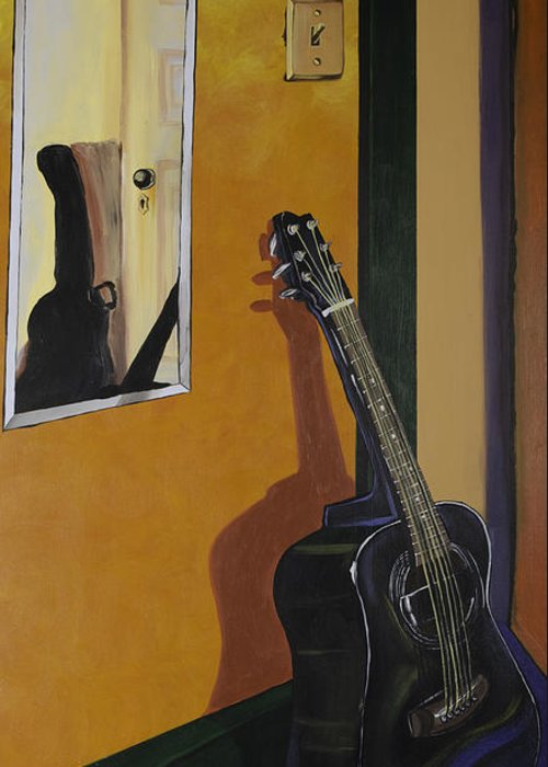 Guitar Greeting Card featuring the painting Ready To Play Guitar by Jennifer Noren