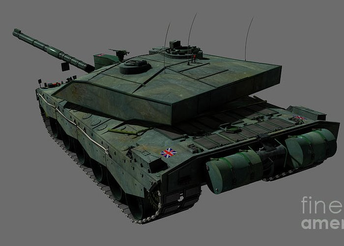 Horizontal Greeting Card featuring the digital art Rear View Of A British Challenger II by Rhys Taylor