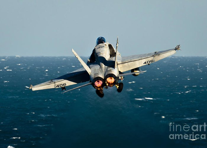 Operation Enduring Freedom Greeting Card featuring the photograph Rear View Of An Fa-18c Hornet Taking by Stocktrek Images