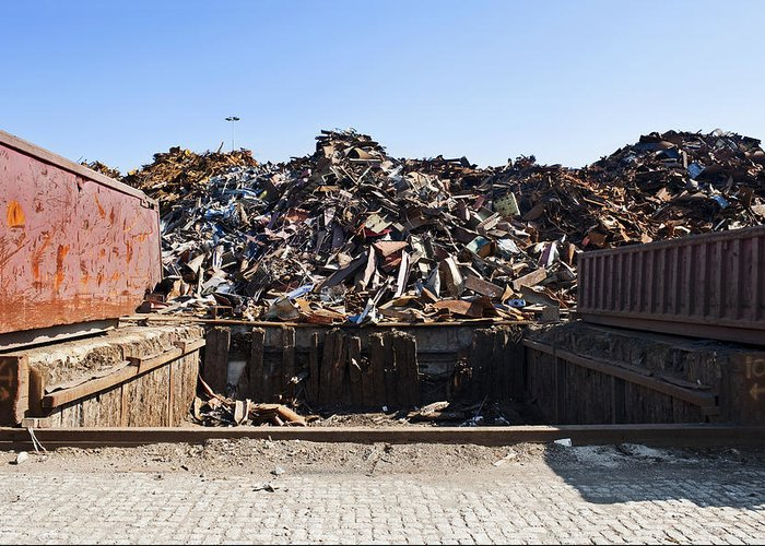 Arrangement Greeting Card featuring the photograph Recycle Dump Site Or Yard For Steel by Corepics