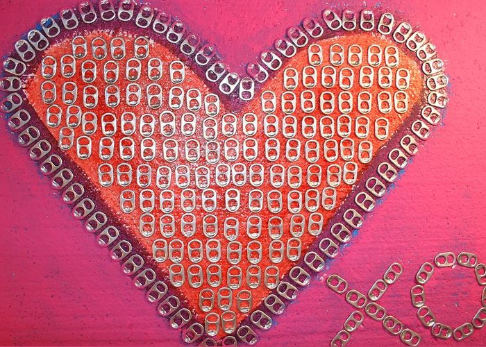 Hearts Desire Greeting Card featuring the mixed media Recycled Love by James Briones