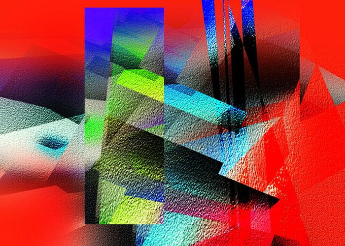 Abstract Greeting Card featuring the painting Red Abstract 1 by Anil Nene