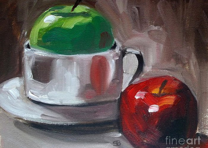 Apples Greeting Card featuring the painting Red And Green Apples by Samantha Black