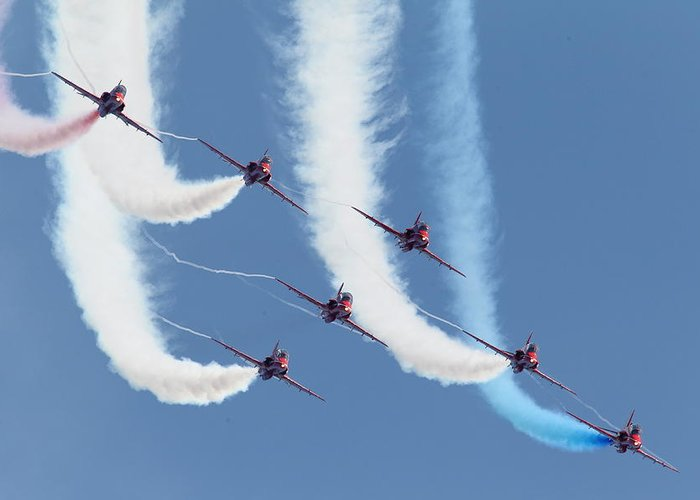 Aircraft Greeting Card featuring the photograph Red Arrows - Formation Magic by Pat Speirs
