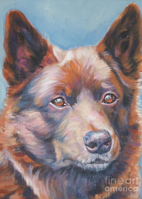 Red Greeting Card featuring the painting red Australian Kelpie by Lee Ann Shepard