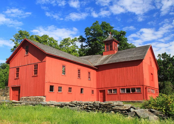Cummington Greeting Card featuring the photograph Red Barn At Bryant Homestead by John Burk