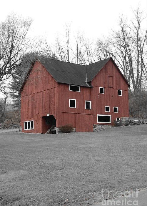 Red Barn Greeting Card featuring the photograph Red Barn In Black And White by Randy Edwards