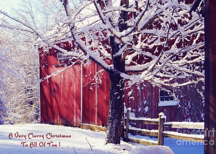 Winter Greeting Card featuring the photograph Red Barn In The Winter Connecticut Usa by Sabine Jacobs