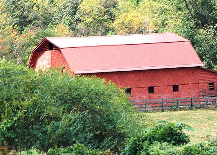 Greeting Card featuring the photograph Red Barn by Regina McLeroy