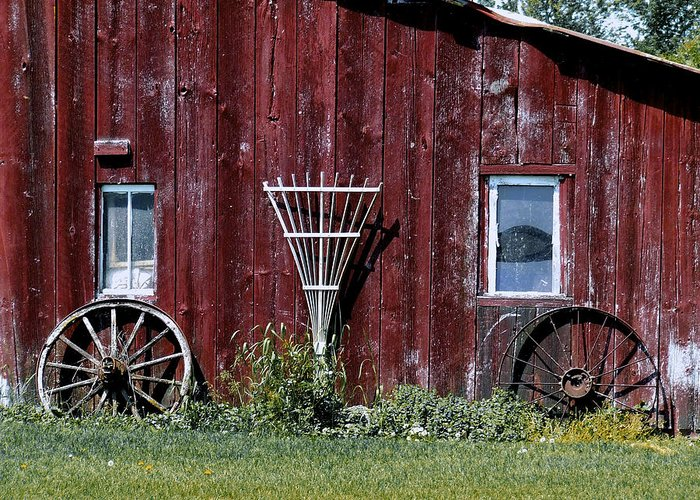 Facades Greeting Card featuring the photograph Red Barn Wall by Richard Gregurich