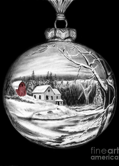 Red Barn Greeting Card featuring the drawing Red Barn Winter Scene Ornament by Peter Piatt