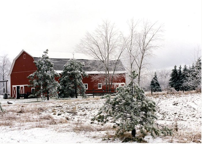 Michigan Red Barn Greeting Card featuring the photograph Michigan Red Barn Winter Scene Snow Landscape by Kathy Fornal