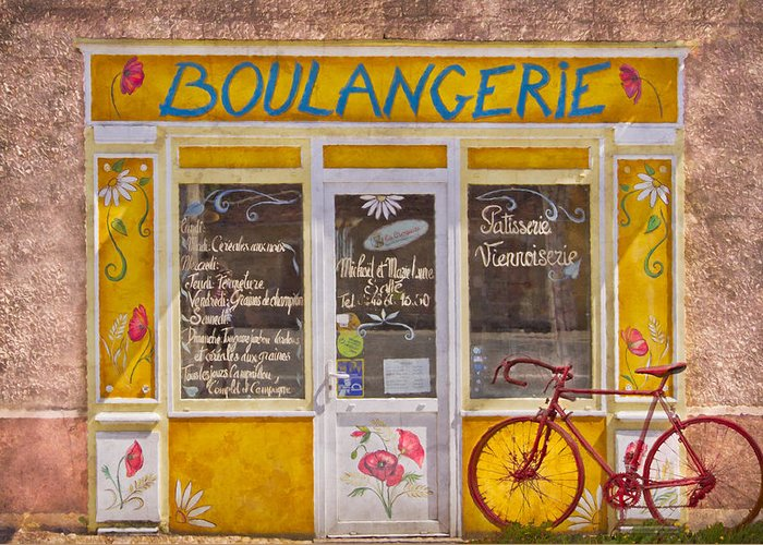 Austria Greeting Card featuring the photograph Red Bike At The Boulangerie by Debra and Dave Vanderlaan