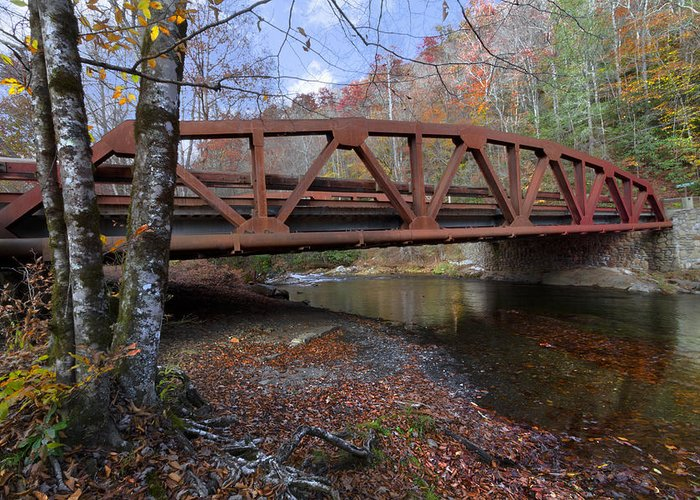 Appalachia Greeting Card featuring the photograph Red Bridge by Debra and Dave Vanderlaan