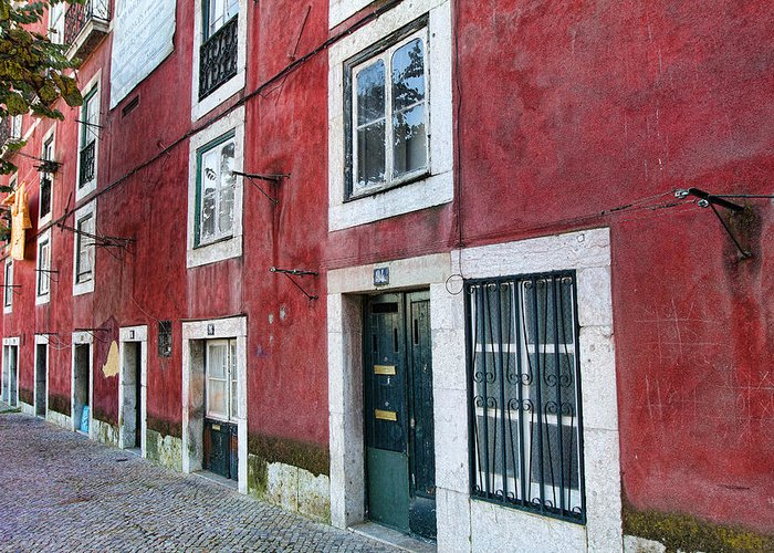 Lisbon Greeting Card featuring the photograph Red Building Lisboa Portugal by Nathan Mccreery