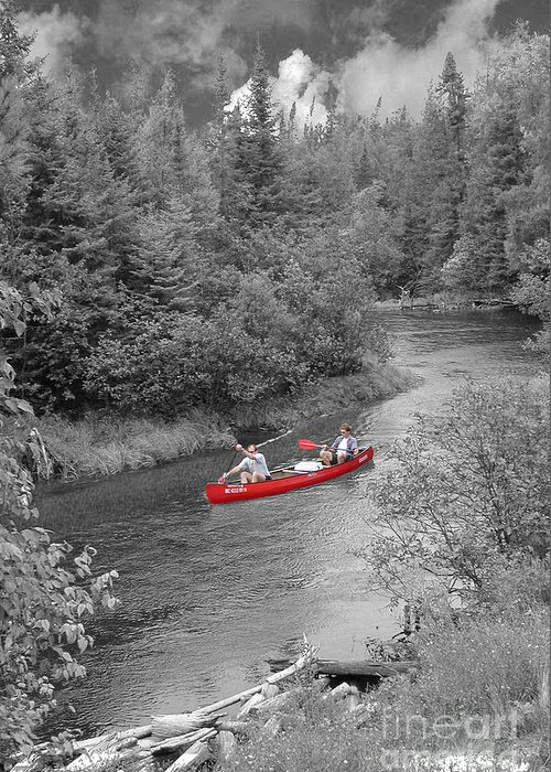 Canoe Greeting Card featuring the photograph Red Canoe by Jim Wright